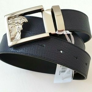 New Versace Collection Logo Buckle Leather belt